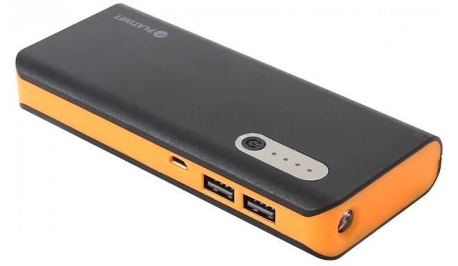 Platinet power bank 13000mAh + фонарик, черный/оранжевый (42898)