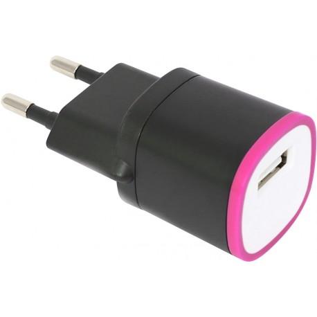 Omega USB laadija 1500mA, must/roosa (42893)