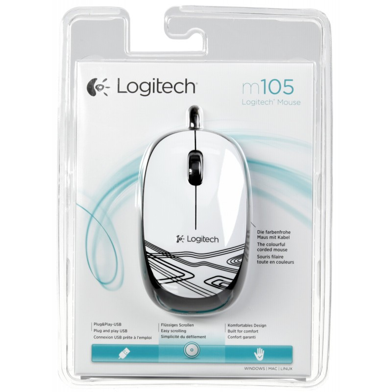 Logitech mouse M 105 Corded, white