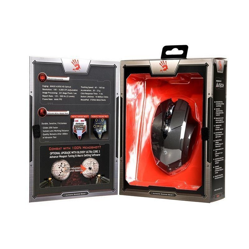 Mouse A4Tech Bloody Gaming R7 Wireless- AVAGO 3050 HD Optical - Metal Feet