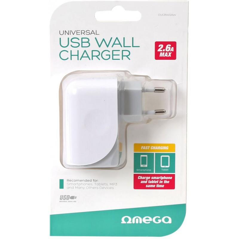 Omega USB laadija 2600mA, valge (43126)