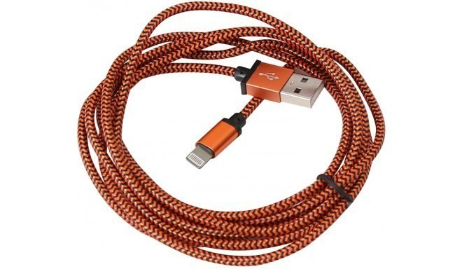 Platinet kabelis USB - Lightning 2m appīts, oranžs