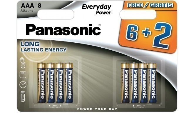 Panasonic Everyday Power patarei LR03EPS/8B (6+2)
