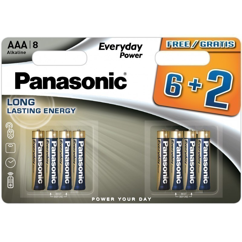 Panasonic patarei LR03EPS/8B (6+2)