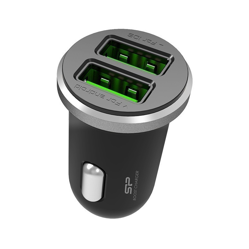 Silicon Power car charger 2×USB, black (CC102P)