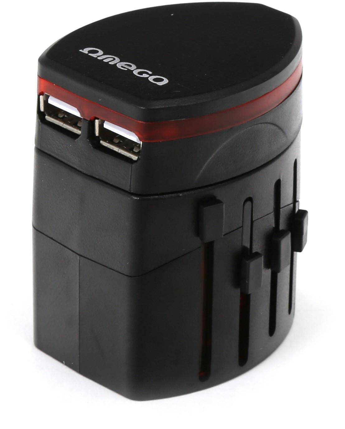 Omega reisiadapter 4in1 USB, must (43354..
