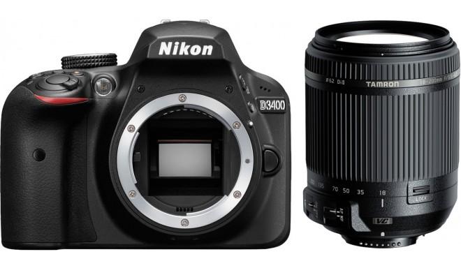 Nikon D3400 +Tamron 18-200mm VC, melns