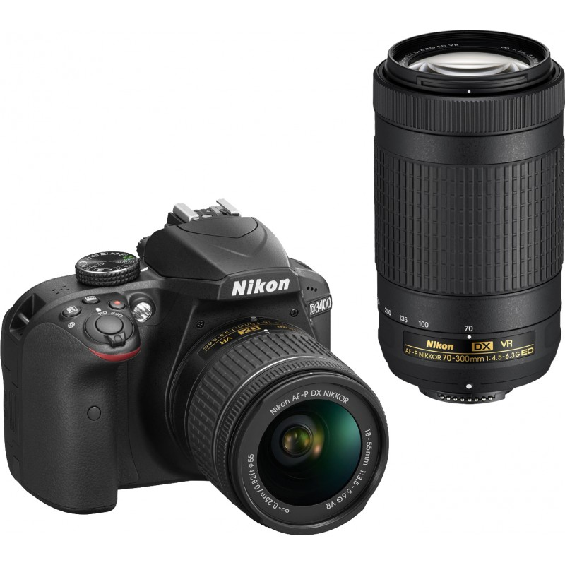 Nikon D3400 + 18-55mm AF-P + 70-300mm VR Kit, must