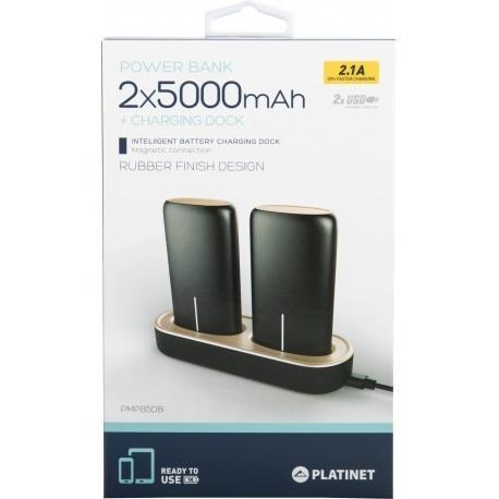 Platinet lādētājs-akumulators 2x5000mAh 2,1A USB + uzlādes doks, melns (44352)