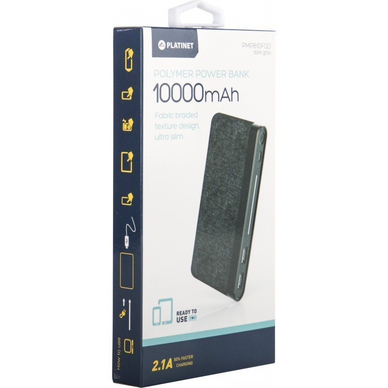 Platinet akupank 10000mAh Fabric Braided LiPo 2.1A, tumehall (44385)