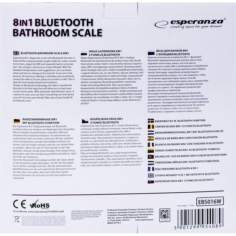 Esperanza EBS016W B.FIT - BLUETOOTH BATHROOM SCALE 8IN1 - WHITE