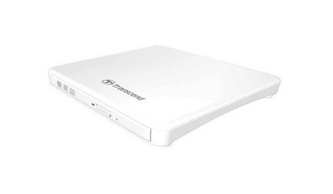 Transcend внешний DVD записыватель Slim TS8XDVDS, белый
