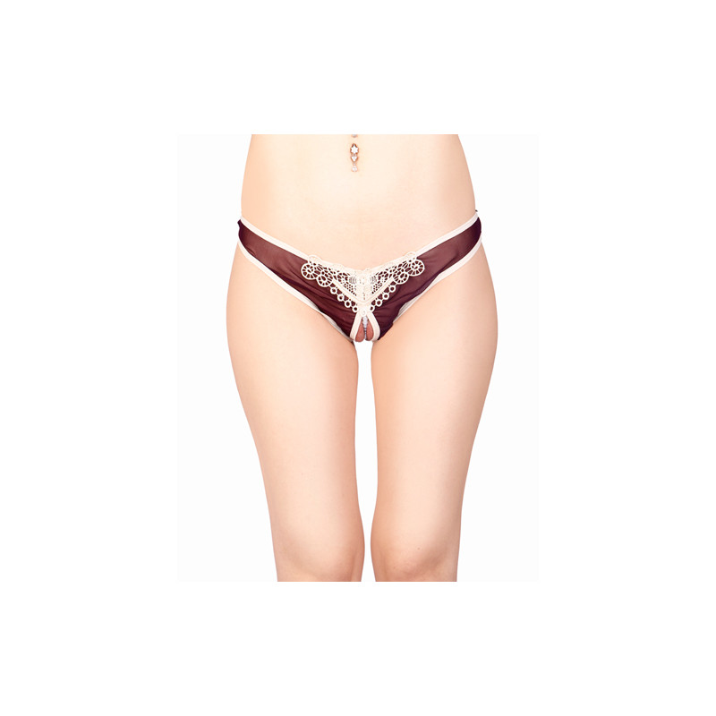 Vixson Crotchless Panties With Lace And Pearl Chain Purple Cream M L