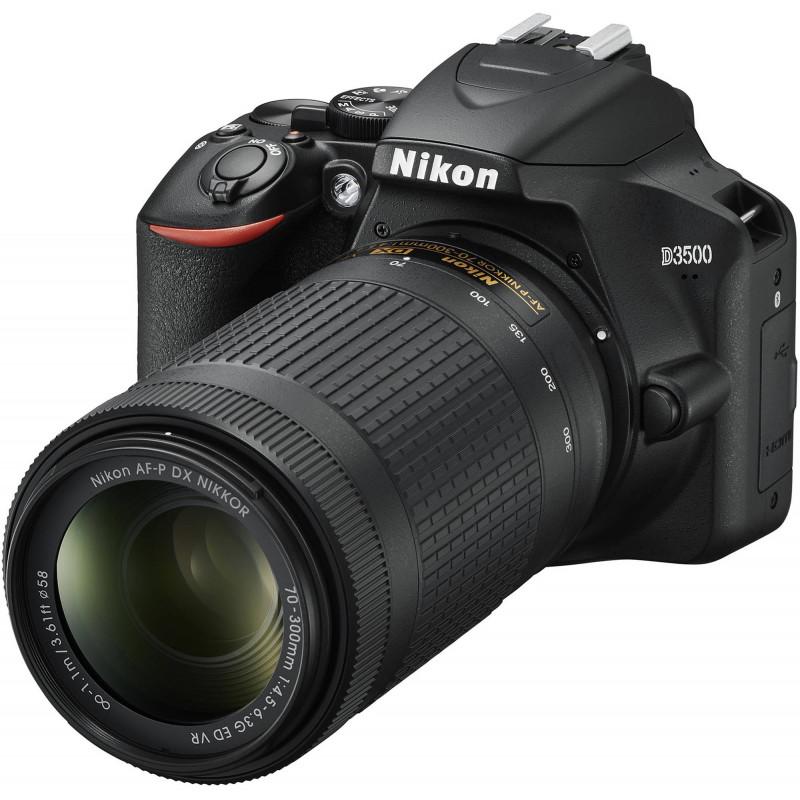 Nikon D3500 + 18-55mm AF-P + 70-300mm VR Kit, black