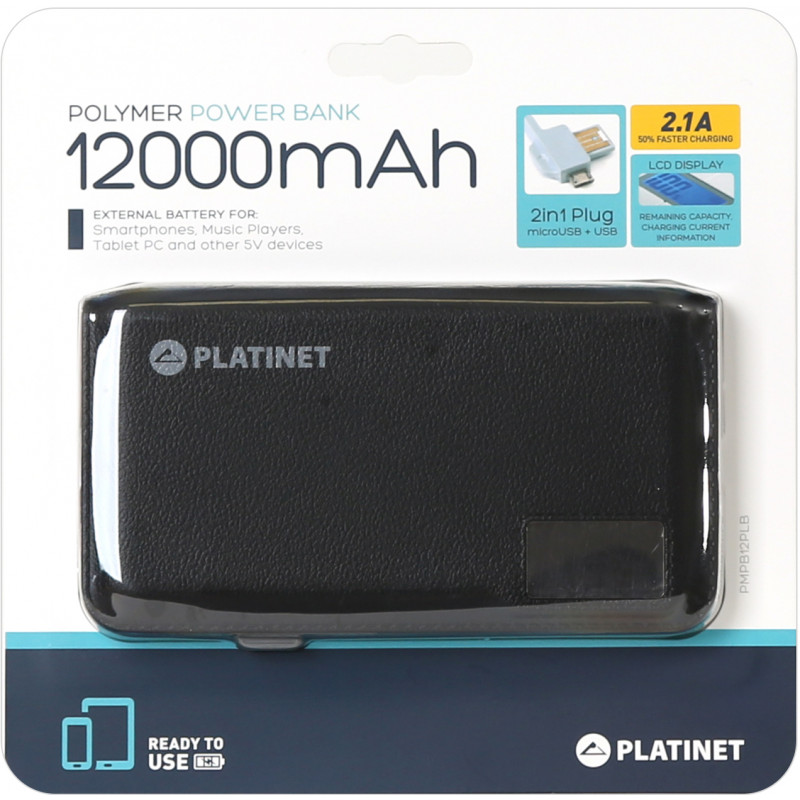 Platinet внешний аккумулятор Leather 12000mAh LCD 2.1A Li-Po (43799)
