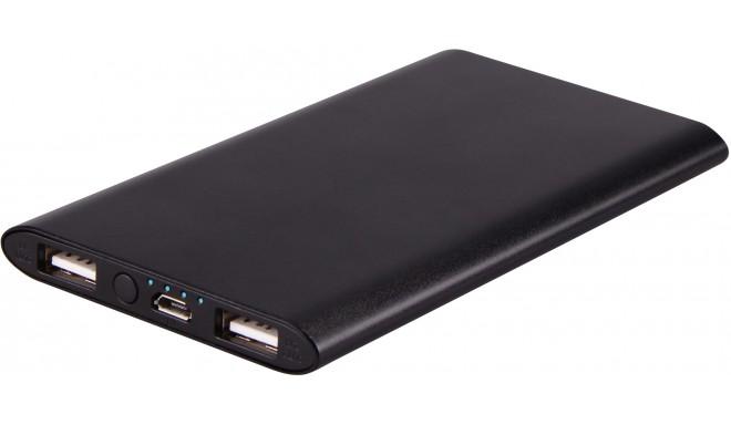 Platinet lādētājs-akumulators 5000mAh Li-Po 2xUSB, melns (43173)