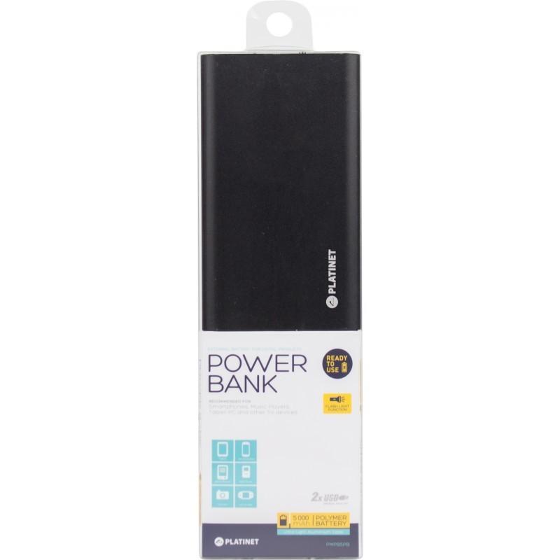 Platinet power bank 5000mAh Li-Po 2xUSB, black (43173)