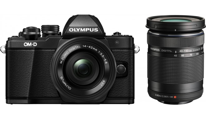 Olympus OM-D E-M10 Mark II + 14-42mm + 40-150mm Kit, melns