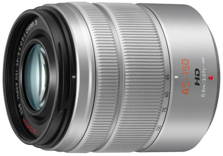 Panasonic Lumix G Vario 45-150mm f/4.0-5.6 ASPH. Mega O.I.S. objektiiv, hõbedane