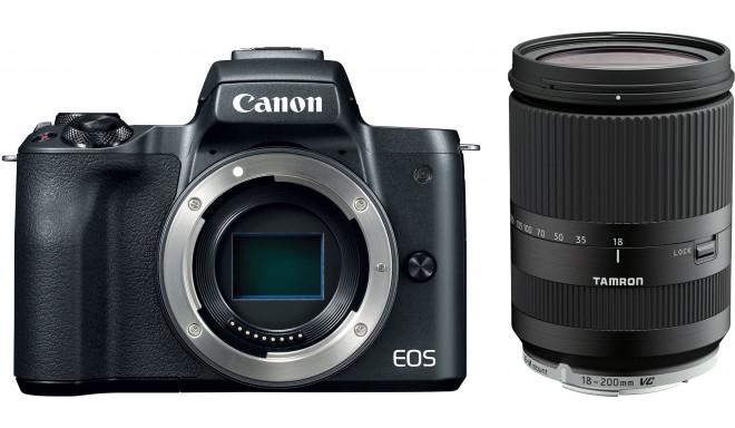 Canon EOS M50 + Tamron 18-200mm VC, melns