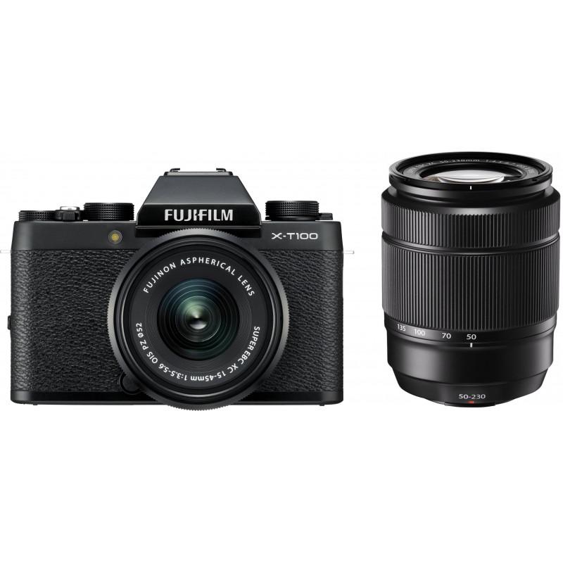 Fujifilm X-T100 + 15-45mm + 50-230mm Kit, black