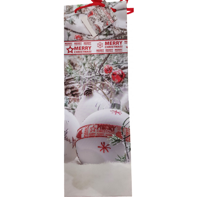 Gift bag for bottles Christmas 13x36x8.5cm, assorted