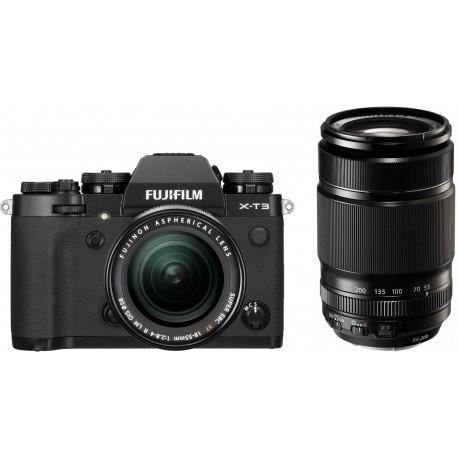 Fujifilm X-T3  + 18-55mm + 55-200mm Kit, melns