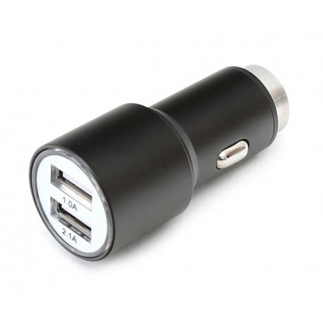 Omega автомобильный зарядый адаптер 2xUSB 2100mA Metal, черный (43342)