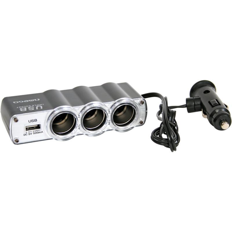 Omega 12/24V расширитель прикуривателя х3 + USB (OUC911)