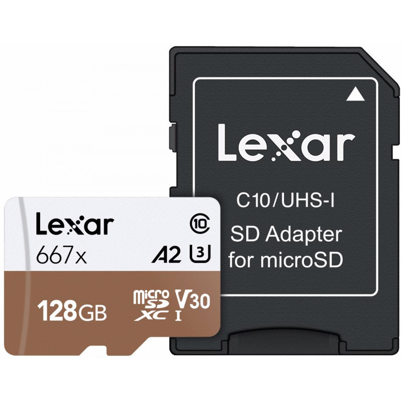 Lexar memory card microSDXC 128GB Pro 667x U3 V30 + adapter