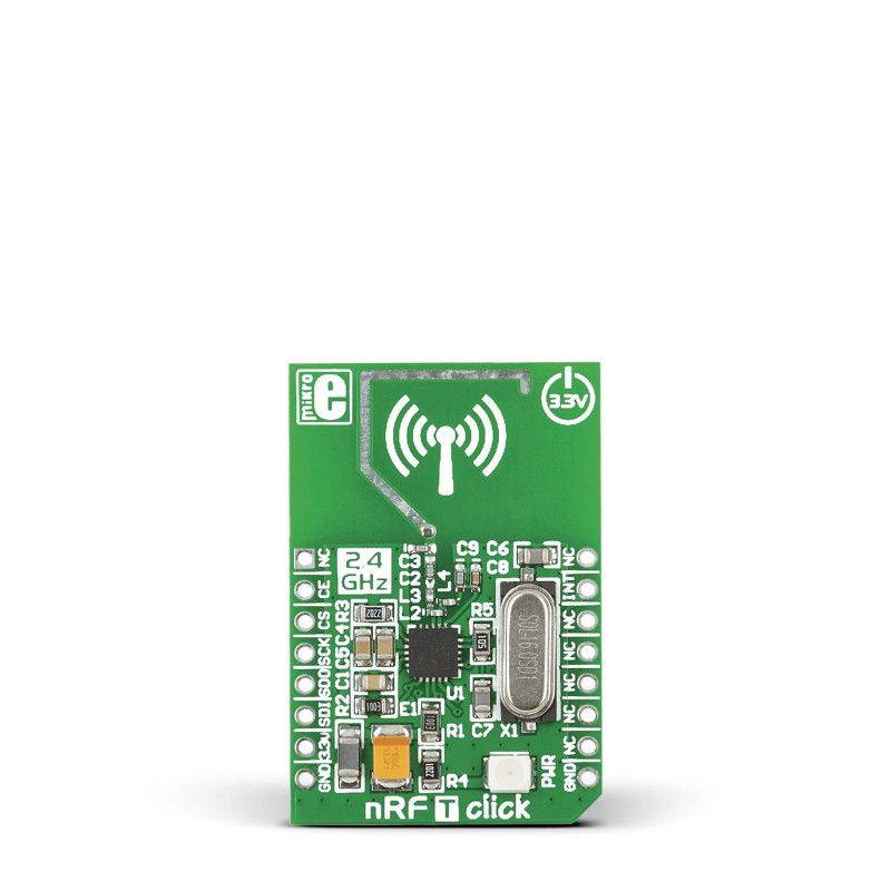 nRF T click - nRF24L01P  2.4GHz transiiveri moodul