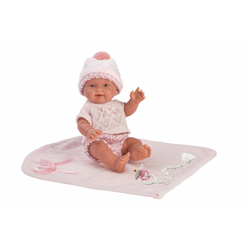 Baby doll with pink blanket 26294 26 cm