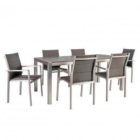 f8c5d86bf3c Aiamööblikomplekt CEDRIC laud ja 6 tooli (21206) 180x90xH75cm, lauaplaat:  klaas, alumiiniumraam