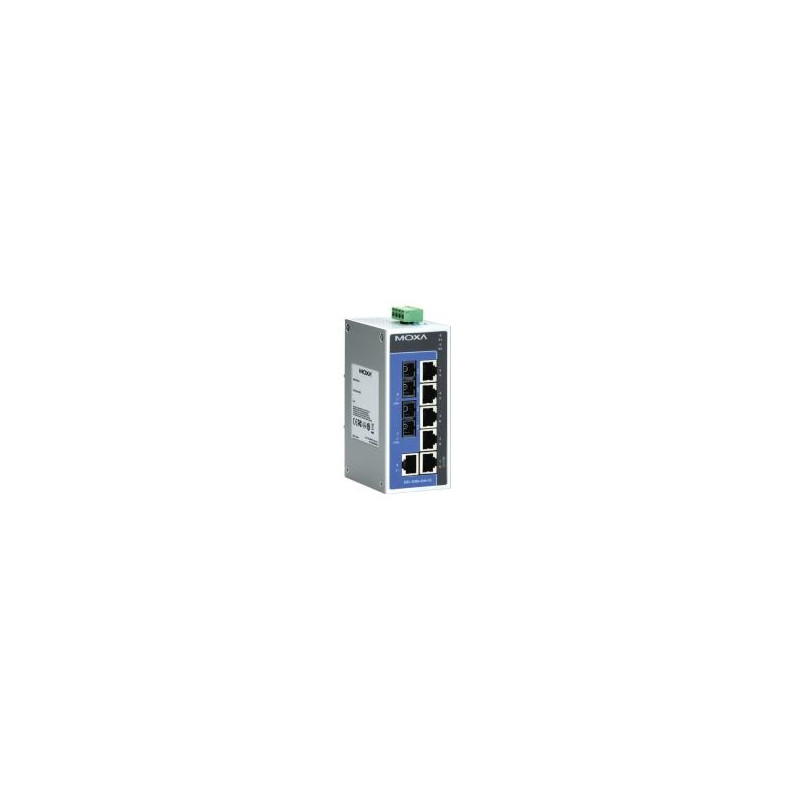Unmanaged Ethernet switch with 6 10/100BaseT(X) ports, and 2 100BaseFX single-mode port with SC conn