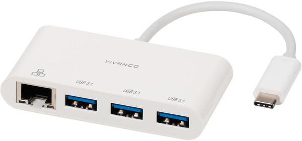 Vivanco adapter USB-C - LAN + hub 3-port (45388)