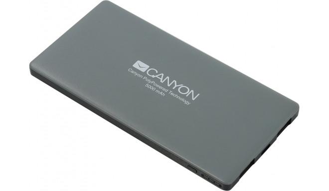 Canyon power bank 5000 мAч, темно-серый (CNS-TPBP5DG)