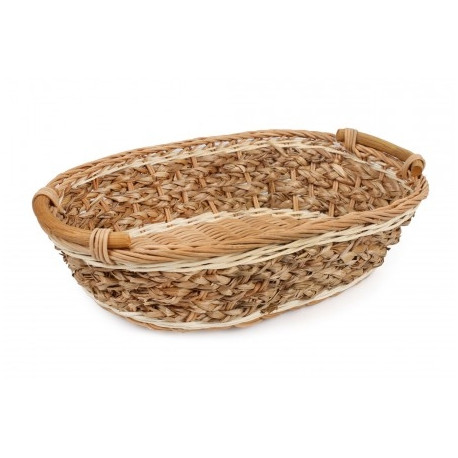 65a6ce0c2dc Oval decorative basket of rattan and banana leaves 32x20x7 cm