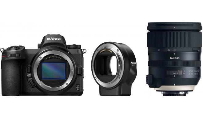 Nikon Z6 + objektīva adapteris FTZ + Tamron 24-70mm f/2.8 G2