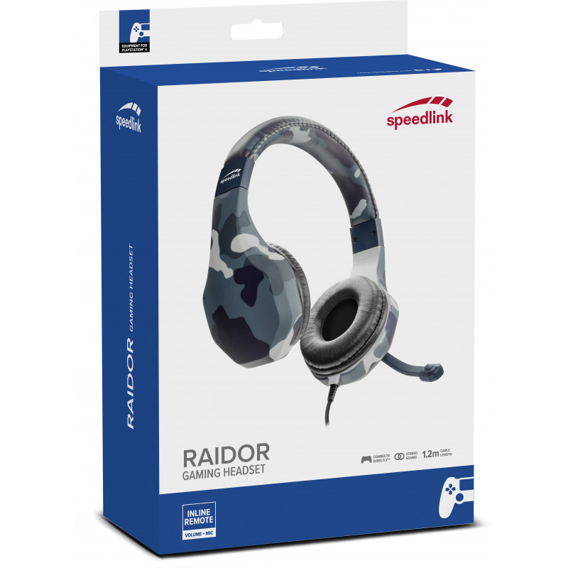 Speedlink kõrvaklapid + mikrofon Raidor PS4, must (SL-450303-BE)