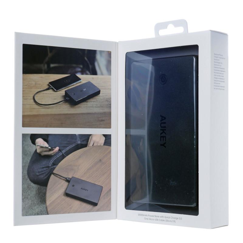 Power Bank AUKEY PB-T10 (20000mAh; Lightning, microUSB, USB type A; black color)