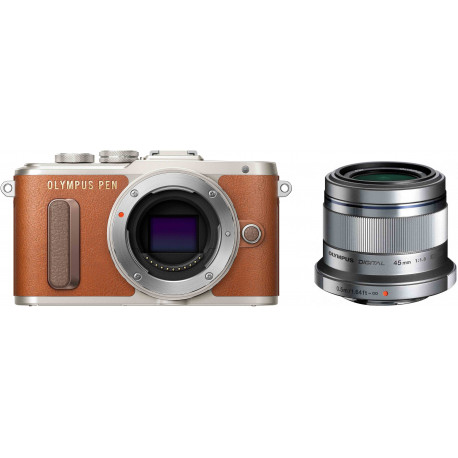 Olympus PEN E-PL8 + 45mm f/1.8, brown/silver