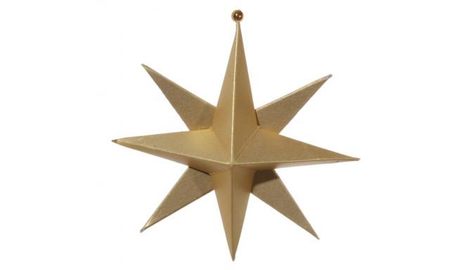 Jõulukaunistus riputatav, 10cm, 8 haruline paberist täht, kuldne