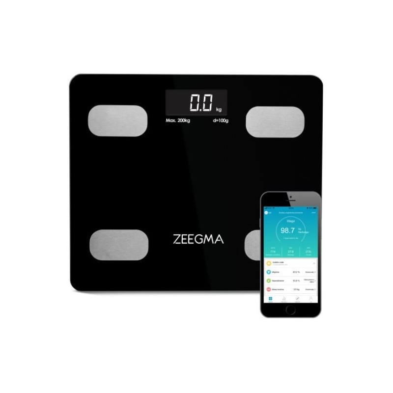 Analytical bathroom scale with aplication 17in1 black