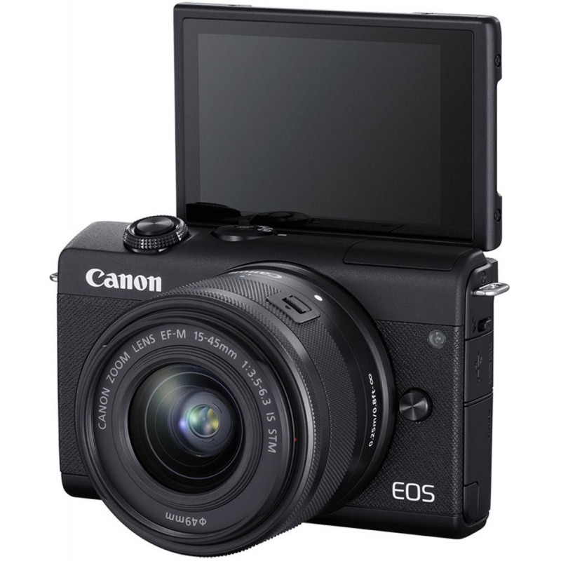 Canon EOS M200 + EF-M 15-45mm + 55-200mm IS STM, black