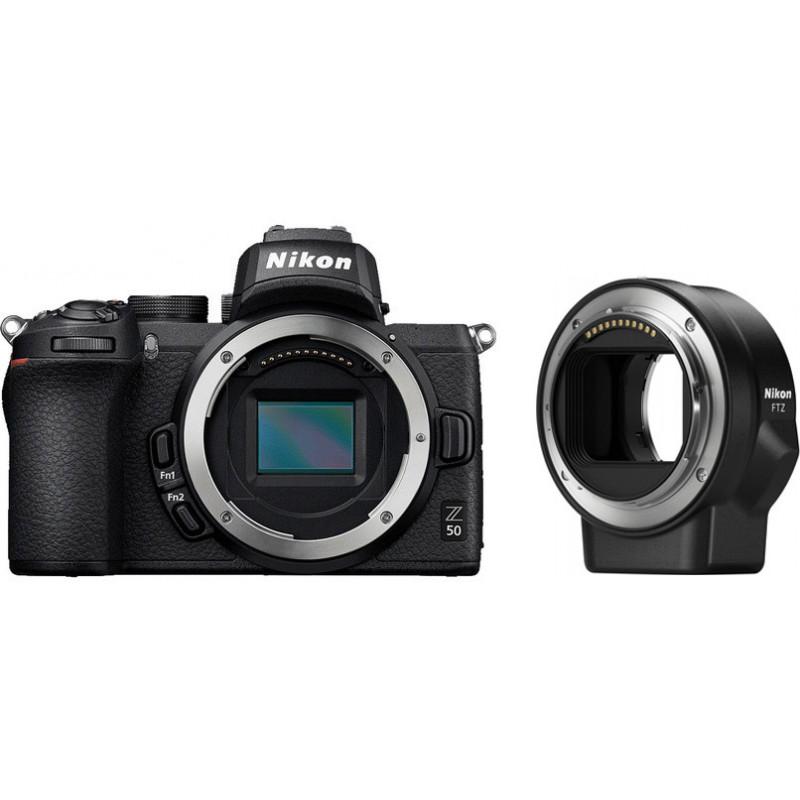 Nikon Z50 kere + objektiivi adapter FTZ