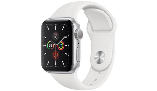 Apple Watch 5 GPS 44 мм Sport Band, серебро/белый