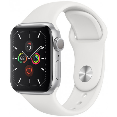 Apple Watch 5 GPS 40mm Sport Band, sudrabots/balts