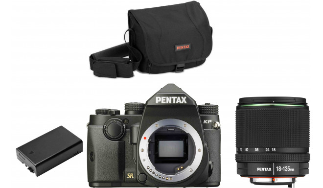 Pentax KP + 18-135mm + camera bag + extra battery, black