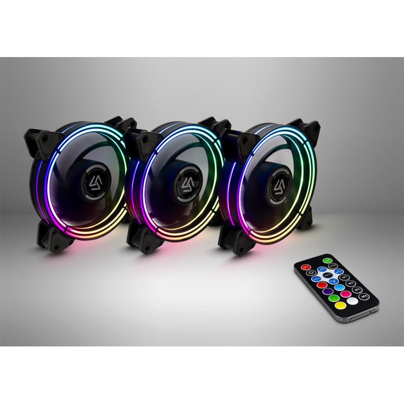 ALSEYE Halo Fan Set 3.0 120x120x25 mm case fan(black, 3-pack with remote control)
