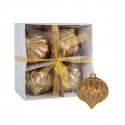Jõuluehe LUXO klaaskuul-sibul 8cm, kuldne, tahk; 4 tk/ 1 pakk